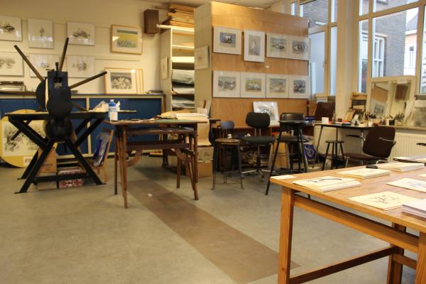 Het atelier aan de Van Weerden Poelmanlaan in Amstelveen klaar voor bezoekers.