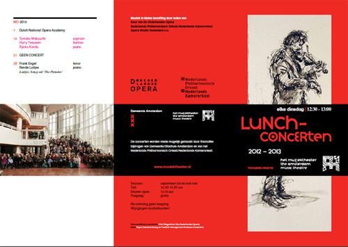 Brochure lunchconcerten 2012-2013 met tekening van Ingeborg Oderwald